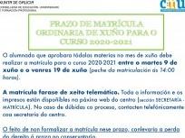Prazos de MATRÍCULA para o curso 2020-2021