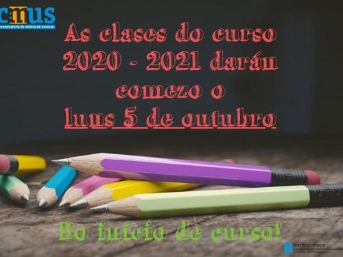 INICIO DAS CLASES CURSO 2020-2021