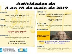 Actividades do 2 ao 16 de maio